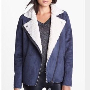 Nordstrom Leith Shearling Suede blue jacket